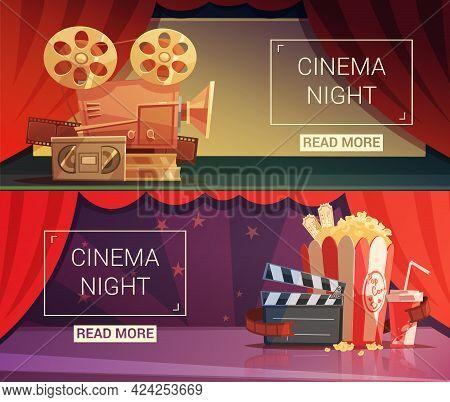 Cinema Cartoon Horizontal Banners Set With Cinema Night Symbols Isolated Vector Illustration