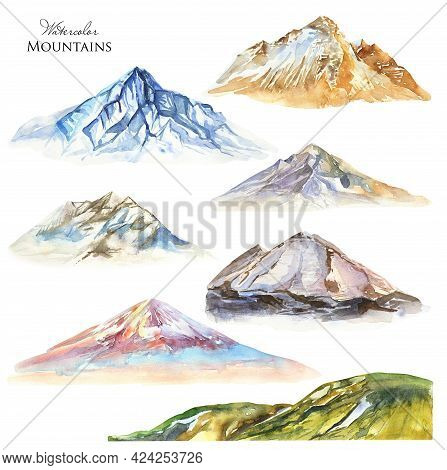 Watercolor Mountains Set. Green Hill, Blue Snowy Mountain. Mountain Volcano Illustration