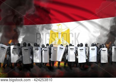 Egypt Protest Fighting Concept, Police Squad In Heavy Smoke And Fire Protecting Order Against Revolt