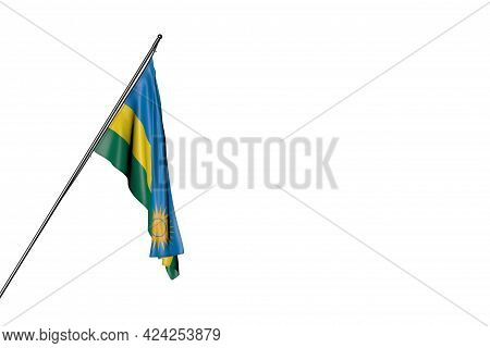 Wonderful Rwanda Flag Hangs On A Diagonal Pole Isolated On White - Any Holiday Flag 3d Illustration