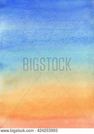 Watercolor Sky Background. Dramatic Sky Illustration. Sunset Sky Scape