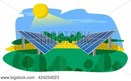 Renewable Energy Sources With Solar Panels Installed In The Field. The Concept Of Alternative Clean