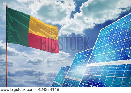 Benin Solar Energy, Alternative Energy Industrial Concept With Flag - Fight With Global Warming - In