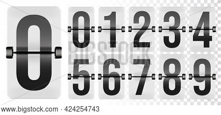 Table Flap Clock Number Counter For Arrival Departure Board. Retro Digit Set For Airport Terminal Me