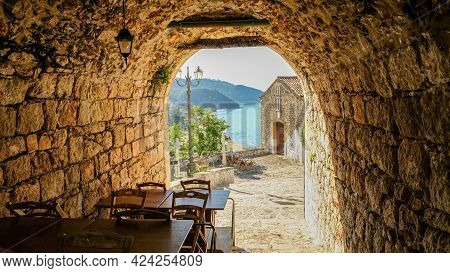 Sperlonga Town, Lazio Region, Italy. In The Crowded Historical Centre, Every Space Is Used.