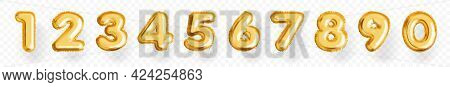 Metallic Gold Number Balloon From Zero To Nine. Different Numeral Foil Air Filled Ball Vector Illust