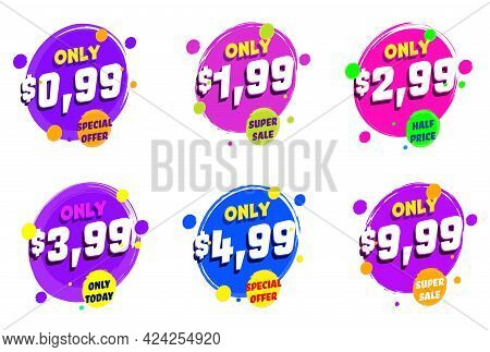 Super Sale Price Cut Only Today Special Discount Offer Label. Set Of Emblem, Product Tag Or Stamp St
