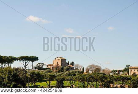 Rome, Palatine Hill. View Of Church Of San Bonaventura Al Palatino. It´s A Small Franciscan Monaster