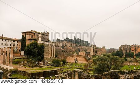 Rome, Forum Romanum. Amazing Landscape Of The Ancient Romans Ruins.