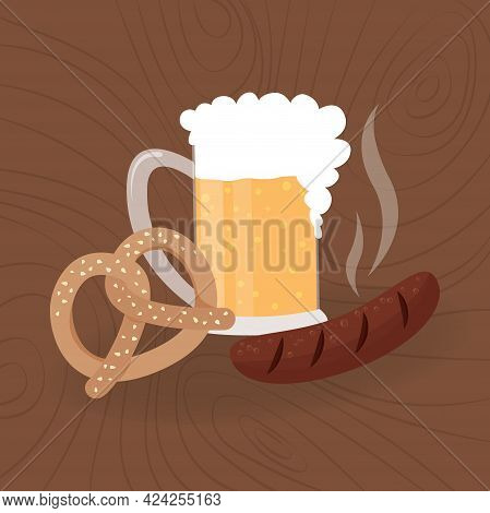Oktoberfest Food. Beer Mug, Pretzel And Bavarian Sausage. Oktoberfest Meal On Wooden Background. Vec