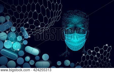 Male Doctor Scientists Vaccine Pills. Safety Medical Mask Virus Protection. Developing Pandemic Coro