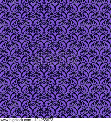 Graceful Vintage Floral Pattern On A Purple Background