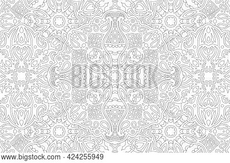 Beautiful Monochrome Vector Linear Illustration For Adult Coloring Book With Abstract Detailed Vinta