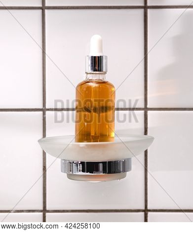 Natural Serum. Concept Of Cosmetic Injection Is Hyaluronic Acid, Botulin, Serum On The Background Of
