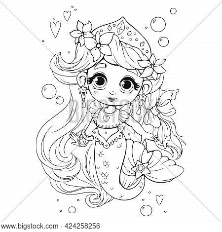 Cute Little Mermaid With Crown Coloring Book. Coloring Book For Girls With A Beautiful Anime Style M