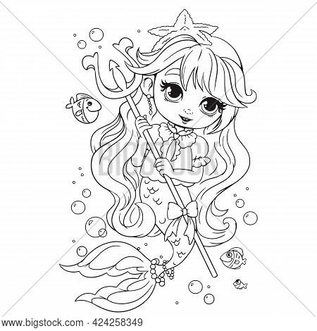Mermaid Princess Holding A Trident Weapon In Her Hands, Coloring Book. Coloring Book For Girls With