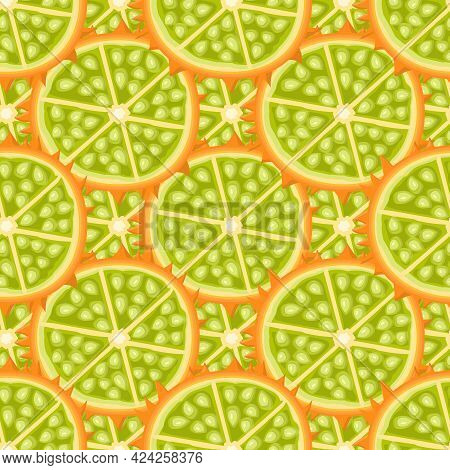Seamless Pattern With Fresh Half Cut Kiwano Fruit Isolated On White Background. Summer Fruits For He
