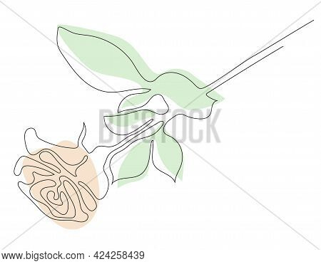 Rose Line Art. A Beautiful Flower Lies. Vector Illustration. Continuous Line Drawing. Abstract Minim