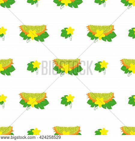 Seamless Pattern With Fresh Yellow Kiwano Fruit And Flowers Isolated On White Background. Summer Fru