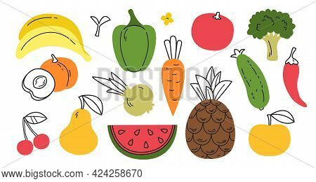 Vector Illustration Of Colored Fruits And Vegetables In Flat Style With Partial Drawing. A Set Of Ve