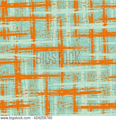 Abstract Canvas Textured Vector Grid Seamless Pattern Background. Blue Orange Backdrop With Painterl
