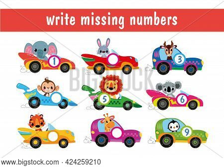 Write Down The Missing Numbers. Animal Drivers Cartoon. Cartoon Cars With Numbers From 1 To 9. Trans