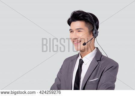 Portrait Young Asian Business Man Call Center Wearing Headset Isolated On White Background, Agent Wi