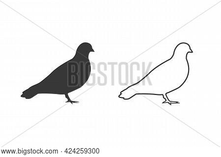 Vector Pigeon Silhouette Icon Set On White