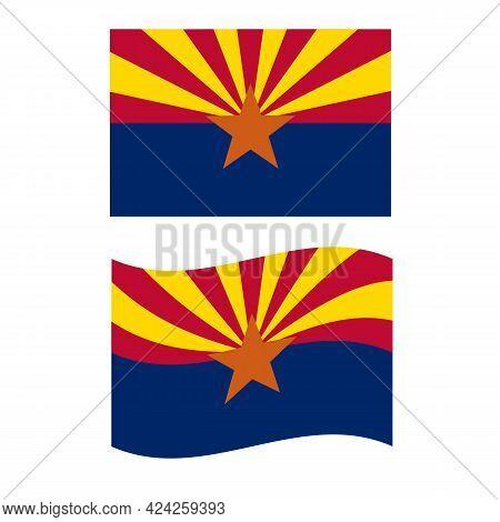 Flag Of Arizona. United States Of America. State Symbol Of Arizona. Flat Style.