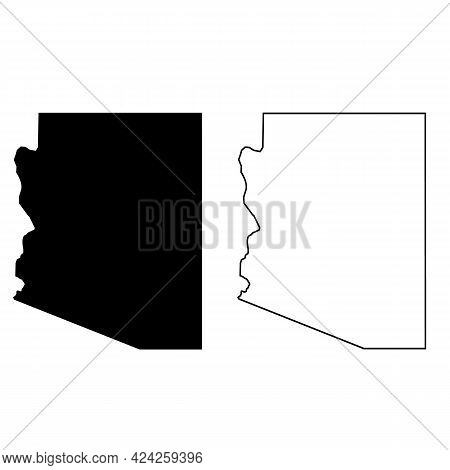 Arizona Map Silhouette On White Background. United State Of America Country. Map Black Outline State