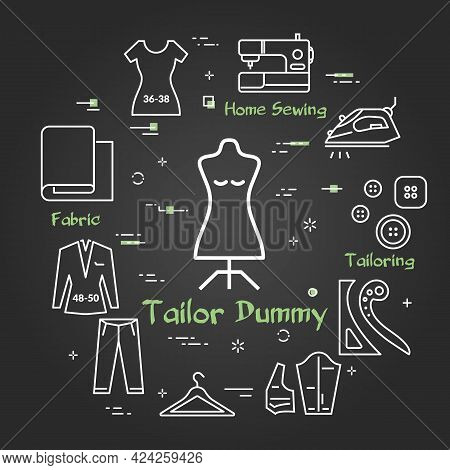Vector Black Banner Of Tailor And Sewing - Tailor Dummy