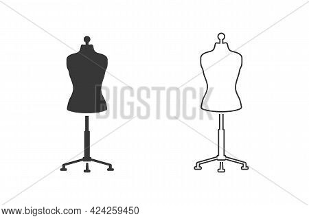Sewing Doll Black Icon Set. Mannequin Vector Illustration Isolated. Fashion Designer