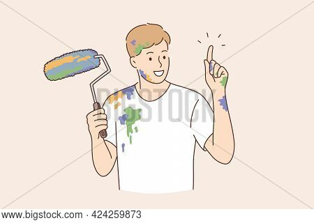Professional Painter, Decorator, Builder Worker Concept. Painter Man Cartoon Character Pointing Fing