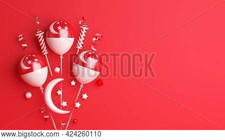 Singapore Independence Day Decoration Background With Balloon Crescent Stars Copy Space Text, 3d Ren