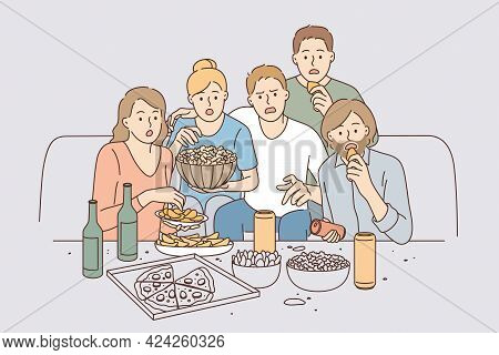 Watching Movie Together Leisure Concept. Group Of Young Surprised People Friends Cartoon Characters