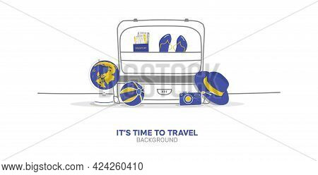 Seyahat Vektör İllüstrasyon - Let`s Travel The World Isolated On Yellow Background -go Travel, Trip,