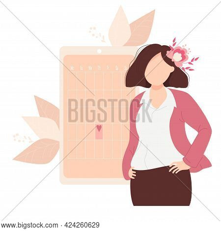 The Beautiful Girl Looks At The Womens Calendar. Business Woman With Flower Hands On The Belt, Stand