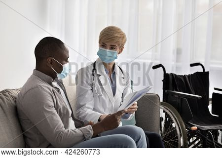 Modern Medical Care, Therapist And Physiotherapist Visit To Patient During Covid-19