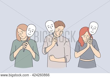 Emotion, Personality, Psychology, Disguise Concept. Depressed Young People Cartoon Characters Standi