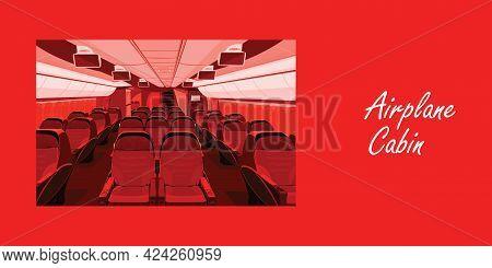 Kabinli Uçak Vektör İllüstrasyon - Let`s Travel The World Isolated On Red Background -go Travel, Tri
