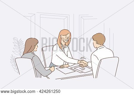 Business Agreement Or Recruitment Concept. Young Smiling Business Woman Sitting In Office Shaking Ha