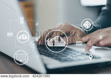 Cloud Computer Technology And Storage Online For Computer Business Network Ideas Connected To Intern