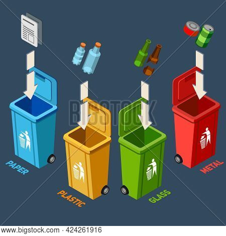 Waste Management Isometric Concept With Different Colored Recycle Bins For Garbage Separation Vector