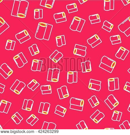 Line Fitness Mat Roll Icon Isolated Seamless Pattern On Red Background. Yoga Mat Rolled. Sport Equip