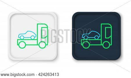 Line Car Transporter Truck For Transportation Of Car Icon Isolated On White Background. Colorful Out