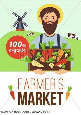 Farmers Market Advertisement Flat Poster With Organic Grown Vegetables And Meat With Countryside Bac