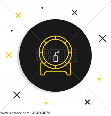 Line Wooden Barrel On Rack With Stopcock Icon Isolated On White Background. Colorful Outline Concept