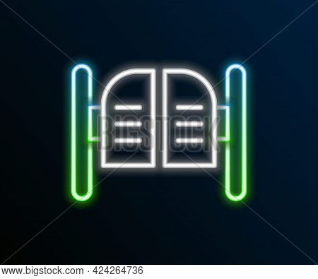 Glowing Neon Line Old Western Swinging Saloon Door Icon Isolated On Black Background. Colorful Outli