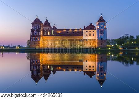 Mir Castle On The Border Of The April Night. Belarus