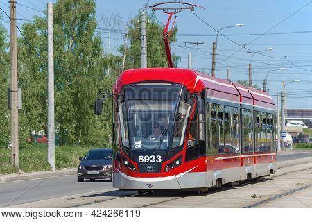 Saint Petersburg, Russia - June 04, 2021: Modern Low-floor Tram 71-931m